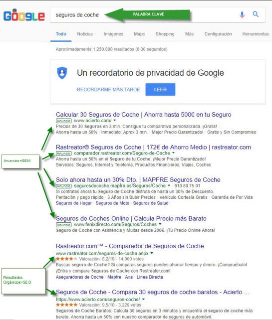 ejemplo SEO y SEM - tráfico web