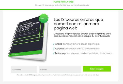 squeeze Page ejemplo