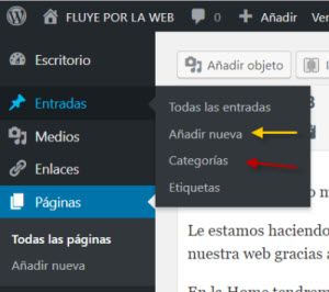 añadir categorias y entradas en wordpress