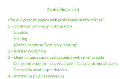 plugins basicos para crear pagina web wordpress- table of content plus